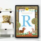 Cartoon Farm Animals Texture Any Initial Personalised Wall Art Print