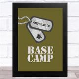 Army Base Camp Camo Dog Tag Any Name Personalised Wall Art Print