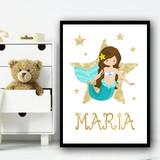 Cartoon Mermaid Brown Hair Gold Star Any Name Personalised Wall Art Print