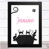 Chalk Multiple Cats On House Any Name Personalised Wall Art Print