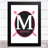Chalk Oval Pink Arrows Any Name Any Initial Personalised Wall Art Print