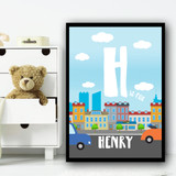 City And Cars Colourful Any Initial Any Name Personalised Wall Art Print