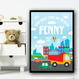 City And Cars Noisy On The Road Any Name Personalised Wall Art Print