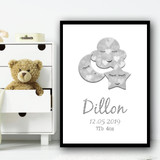 Cloud Star Moon Silver Any Name Any Date Any Weight Personalised Wall Art Print