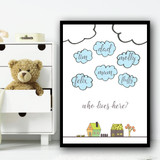 Clouds And Cartoon Houses Who Lives Here Any Name Personalised Wall Art Print