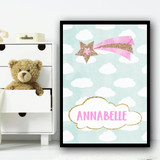 Clouds Glitter Shooting Star Any Name Personalised Wall Art Print