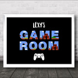 Control Pad Game Room Mario Letters Landscape Personalised Wall Art Print