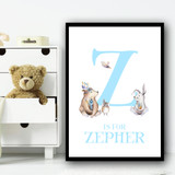 Cute Animals Bear And Rabbit Blue Any Initial Personalised Wall Art Print