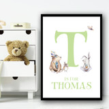 Cute Animals Bear And Rabbit Green Any Initial Personalised Wall Art Print