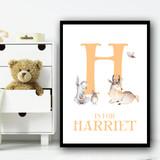 Cute Animals Bear And Rabbit Orange Any Initial Personalised Wall Art Print