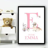Cute Animals Bear And Rabbit Pink Any Initial Personalised Wall Art Print