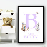 Cute Animals Bear And Rabbit Purple Any Initial Personalised Wall Art Print