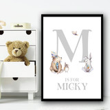Cute Animals Bear And Rabbit Silver Any Initial Personalised Wall Art Print