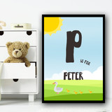 Duck And Ducklings Any Initial Any Name Personalised Wall Art Print