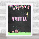 Fairy Horse And Carriage Chalk Pink Floral Any Name Personalised Wall Art Print