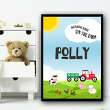 Farm Animals Tractor Working Hard Any Name Personalised Wall Art Print