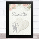 Floral Fade Silver Angel Heart Any Name Personalised Wall Art Print