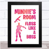 Floss Like A Boss Pink Silhouette Any Name Personalised Wall Art Print