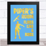Floss Like A Boss Yellow Blue Silhouette Any Name Personalised Wall Art Print