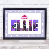 Fortnite Purple Border Logo Any Name Personalised Wall Art Print
