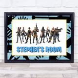 Fortnite Characters Blue Any Name Personalised Wall Art Print