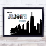 Fortnite City Scape Silhouette Blue Any Name Personalised Wall Art Print