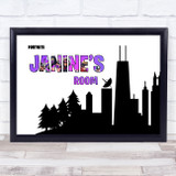 Fortnite City Scape Silhouette Pink Any Name Personalised Wall Art Print