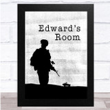 Army Watercolour Soldier Car Silhouette Room Personalised Wall Art Print