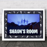 Fortnite Cracked Texture Border Characters Shadow Personalised Wall Art Print