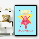 Girl Blonde Hair Pig Tails Light Blue Personalised Wall Art Print