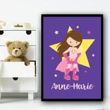 Girl Brown Hair Hands On Hips Purple Personalised Wall Art Print