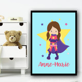 Girl Brown Hair Pig Tails Light Blue Any Name Personalised Wall Art Print