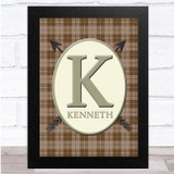 Arrows Brown Chequered Oval Any Name Any Initial Personalised Wall Art Print