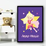 Girl Hero Blonde Hair Purple Any Name Personalised Wall Art Print