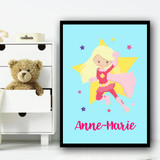 Girl Hero Blonde Hair Sky Blue Any Name Personalised Wall Art Print
