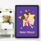 Girl Hero Brown Hair Purple Any Name Personalised Wall Art Print