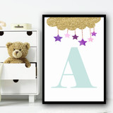 Gold Sparkle Cloud Purple Stars Any Initial Personalised Wall Art Print