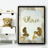 Gold Sparkle Mermaid Typography Any Name Personalised Wall Art Print