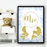 Gold Sparkle Mermaid Typography Blue Seaweed Personalised Wall Art Print