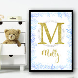 Gold Sparkle Typography Blue Sea Weed Any Initial Personalised Wall Art Print