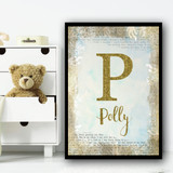 Gold Sparkle Vintage Typography Any Initial Any Name Personalised Wall Art Print