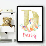 Gold Unicorn Floral Any Initial Any Name Personalised Wall Art Print
