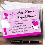 Hot Pink Bride Hearts Customised Bridal Shower Party Invitations