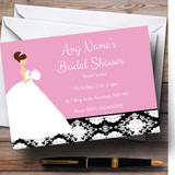 Pink Black Damask Bride Customised Bridal Shower Party Invitations