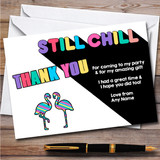 Flamingo You Tuber Still Chill Multi Colour Birthday Party Thank You Cards