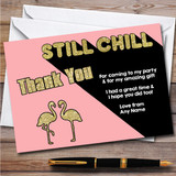 Flamingo You Tuber Still Chill Sparkly Gold & Pink Party Thank You Cards