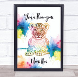 Leopard Cub Colourful Splatter You're Roar-Some Personalised Wall Art Print