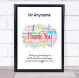 Teacher Thank You Multi Language Colourful Personalised Wall Art Print