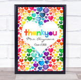 Thank You Teacher Rainbow Hearts Scattered Personalised Wall Art Print
