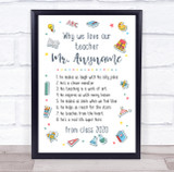 Why We Love Our Teacher School Illustrated Personalised Wall Art Print
